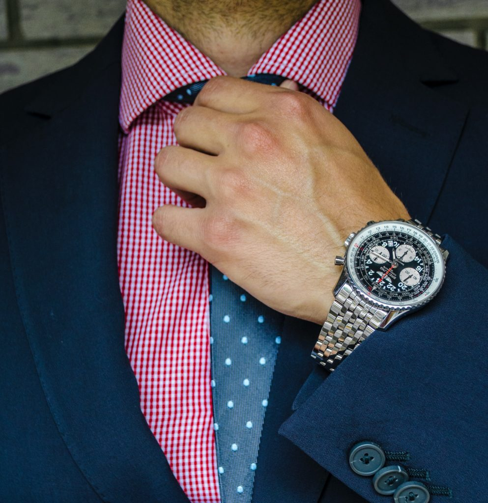 accessories for a suit watch and tie